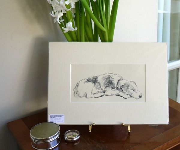 Terrier - outline of dog asleep 1930's print by Lucy Dawson